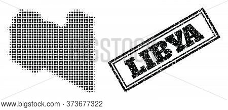 Halftone Map Of Libya, And Rubber Watermark. Halftone Map Of Libya Made With Small Black Round Pixel