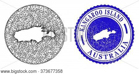 Mesh Inverted Round Kangaroo Island Map And Scratched Seal Stamp. Kangaroo Island Map Is Inverted In