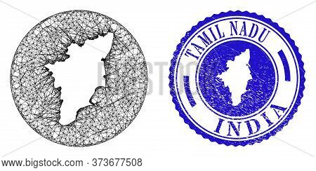 Mesh Inverted Round Tamil Nadu State Map And Scratched Seal Stamp. Tamil Nadu State Map Is Carved In