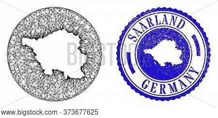 Mesh Stencil Round Saarland Land Map And Scratched Stamp. Saarland Land Map Is Stencil In A Circle S