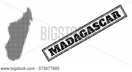 Halftone Map Of Madagascar Island, And Dirty Watermark. Halftone Map Of Madagascar Island Designed W