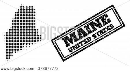 Halftone Map Of Maine State, And Grunge Seal Stamp. Halftone Map Of Maine State Generated With Small