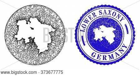 Mesh Stencil Round Lower Saxony Land Map And Scratched Seal Stamp. Lower Saxony Land Map Is Stencil