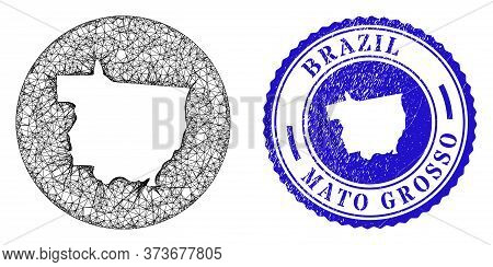 Mesh Stencil Round Mato Grosso State Map And Scratched Seal Stamp. Mato Grosso State Map Is Cut Out