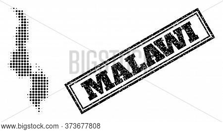 Halftone Map Of Malawi, And Rubber Seal. Halftone Map Of Malawi Constructed With Small Black Round D
