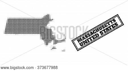 Halftone Map Of Massachusetts State, And Grunge Watermark. Halftone Map Of Massachusetts State Made