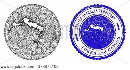 Mesh Stencil Round Turks And Caicos Islands Map And Grunge Seal. Turks And Caicos Islands Map Is Ste