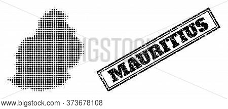 Halftone Map Of Mauritius Island, And Textured Seal. Halftone Map Of Mauritius Island Designed With