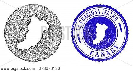 Mesh Hole Round La Graciosa Island Map And Grunge Seal Stamp. La Graciosa Island Map Is Stencil In A