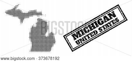 Halftone Map Of Michigan State, And Textured Watermark. Halftone Map Of Michigan State Generated Wit