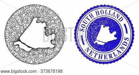 Mesh Hole Round South Holland Map And Grunge Seal Stamp. South Holland Map Is Inverted In A Circle S