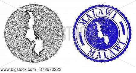 Mesh Hole Round Malawi Map And Scratched Seal Stamp. Malawi Map Is Carved In A Round Stamp. Web Mesh
