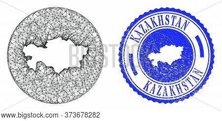 Mesh Hole Round Kazakhstan Map And Grunge Seal. Kazakhstan Map Is A Hole In A Round Stamp Seal. Web