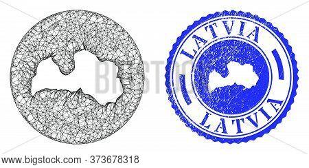 Mesh Hole Round Latvia Map And Grunge Seal Stamp. Latvia Map Is A Hole In A Round Seal. Web Mesh Vec