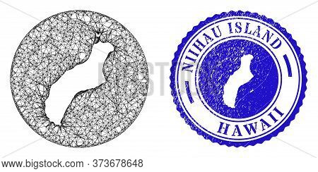 Mesh Hole Round Niihau Island Map And Grunge Stamp. Niihau Island Map Is A Hole In A Round Seal. Web