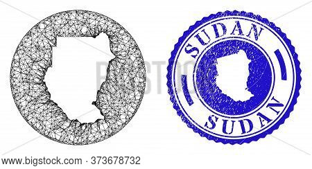 Mesh Stencil Round Sudan Map And Grunge Stamp. Sudan Map Is A Hole In A Circle Stamp Seal. Web Netwo