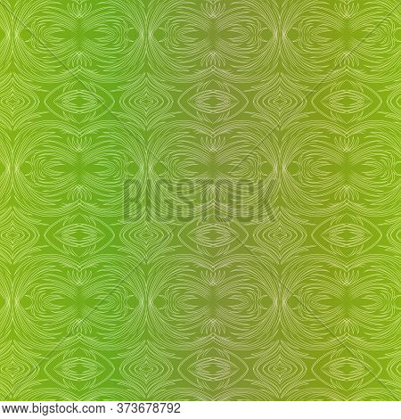 Seamless Abstract Pattern With Chaotic Lines In Green Color With Gradient, Hand Drawing Vector
