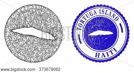 Mesh Hole Round Tortuga Island Of Haiti Map And Scratched Seal. Tortuga Island Of Haiti Map Is A Hol