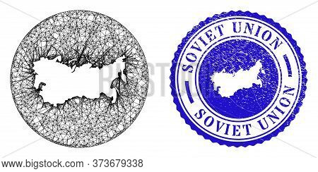 Mesh Subtracted Round Soviet Union Map And Scratched Stamp. Soviet Union Map Is Stencil In A Circle