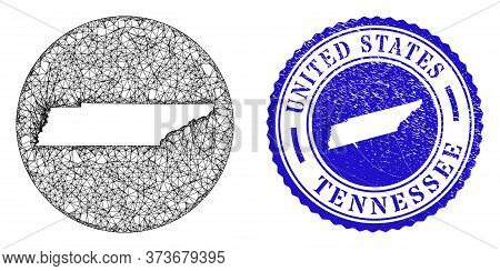 Mesh Hole Round Tennessee State Map And Scratched Stamp. Tennessee State Map Is A Hole In A Round St