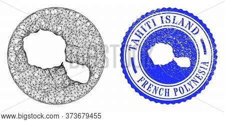 Mesh Inverted Round Tahiti Island Map And Scratched Stamp. Tahiti Island Map Is A Hole In A Round St