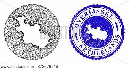 Mesh Subtracted Round Overijssel Province Map And Grunge Seal Stamp. Overijssel Province Map Is A Ho