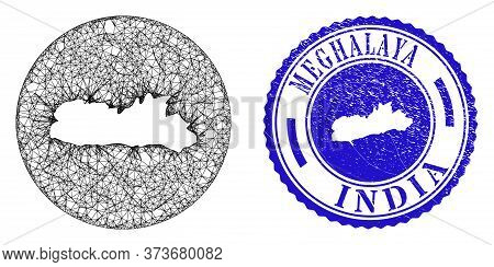 Mesh Subtracted Round Meghalaya State Map And Scratched Seal Stamp. Meghalaya State Map Is Subtracte
