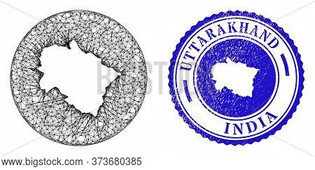 Mesh Inverted Round Uttarakhand State Map And Grunge Seal. Uttarakhand State Map Is Inverted In A Ro