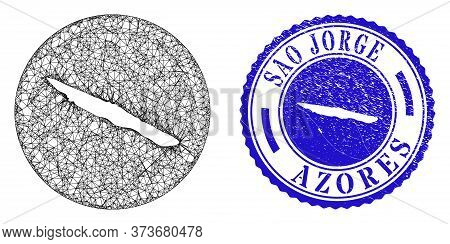 Mesh Hole Round Sao Jorge Island Map And Grunge Seal Stamp. Sao Jorge Island Map Is Inverted In A Ro