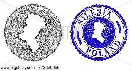 Mesh Stencil Round Silesian Voivodeship Map And Scratched Seal. Silesian Voivodeship Map Is A Hole I