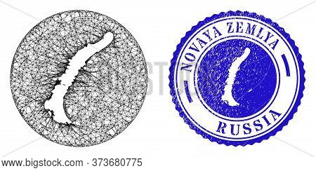 Mesh Stencil Round Novaya Zemlya Islands Map And Scratched Stamp. Novaya Zemlya Islands Map Is Stenc