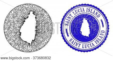 Mesh Stencil Round Saint Lucia Island Map And Grunge Seal Stamp. Saint Lucia Island Map Is Carved In