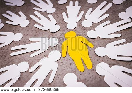 Yellow Silhouette Of Fat Man In The Center On Brown Background. White Figures Of People Around. Bull
