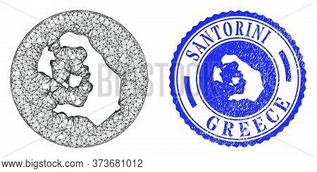 Mesh Stencil Round Santorini Island Map And Grunge Seal. Santorini Island Map Is Inverted In A Circl