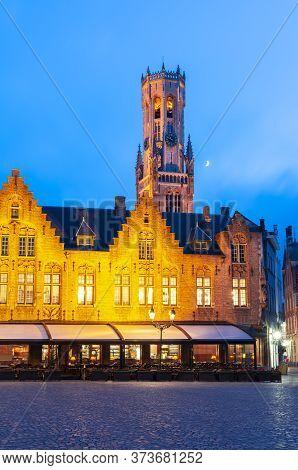 Belfort Tower And Burg Square In Bruges At Night, Belgium
