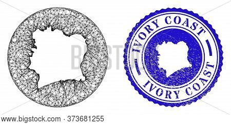 Mesh Subtracted Round Ivory Coast Map And Grunge Seal Stamp. Ivory Coast Map Is Subtracted From A Ci