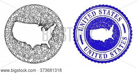Mesh Inverted Round United States Map And Scratched Stamp. United States Map Is Inverted In A Round