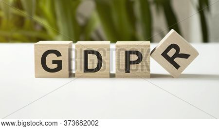 Gdpr Word Written On Wood Block. Gdpr Text On Table, Concept.