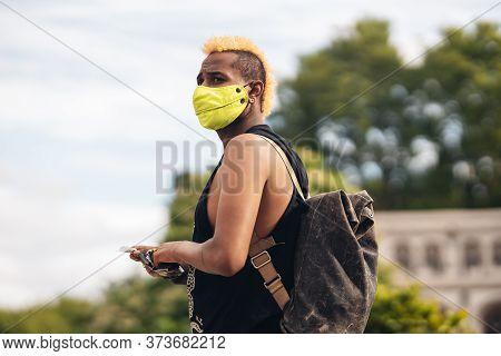 London / Uk - 06/27/2020: Lgbtq Protesters In Medical Masks At Black Lives Matter Protest/2020:
