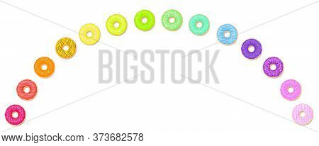 Donut Rainbow. Colorful Donuts In An Arch. Isolated Vector Illustration On White Background.