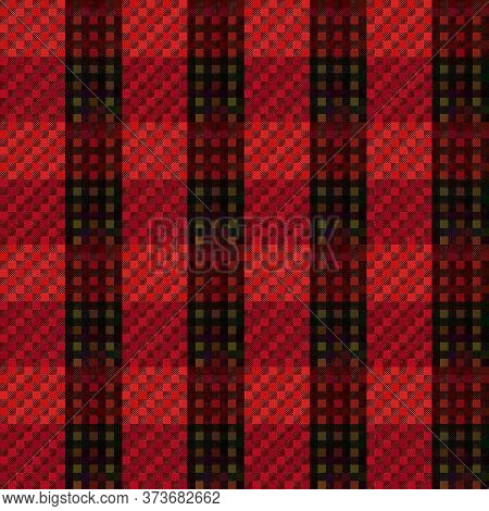 Rectangular Seamless Vector Pattern As A Tartan Plaid Mainly In Dark Red And Green Hues, Texture For