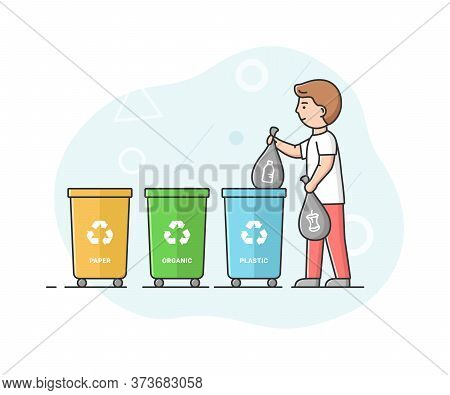 Concept Of Zero Waste, Recycling Technology And Save Planet. Man Is Sorting Waste And Put It Into Ap