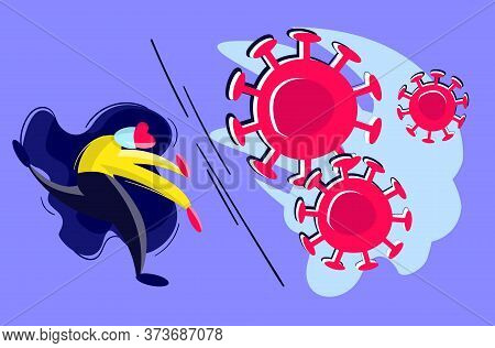Stock Vector Illustration Of Coronavirus Second Wave Concept. Brave Woman, Doctor Or Businesswoman I