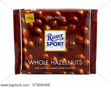 Bucharest, Romania - March 25, 2016. Ritter Sport Whole Hazelnuts, Milk Chocolate Bar With Whole Haz