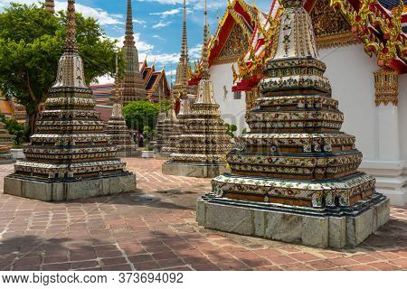 Wat Pho Temple in Bangkok, Thailand chedi in the afternoon.