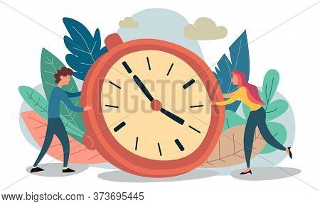 Time Management Concept, Flat Tiny Persons Vector Illustration. Couple Planning Daily Life Tasks And