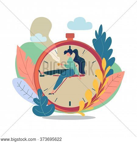 Waiting Concept. Young Attractive Girl Is Waiting For Something Sitting On Huge Clock With A Cup Of