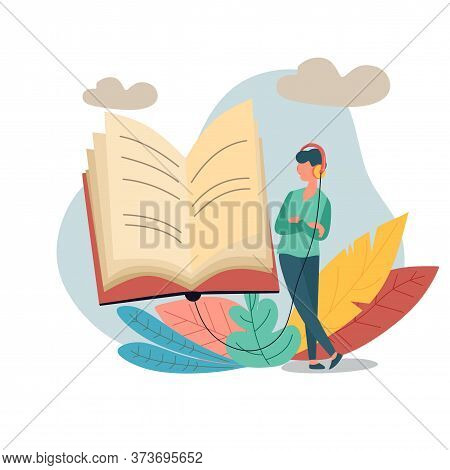 Character Standing Besides A Huge Book With Headphones And Listen Them Online. Concept Of Online Rea