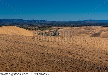 Comparative View Of The Imperial Sand Dunes In The Sonoran Desert Of California, Usa, Featuring Tire