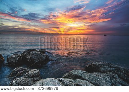 Long Exposure Image Of  Sea And Sky In Twilight Time